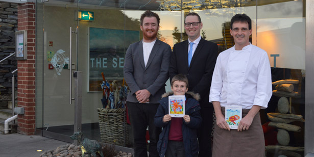 Rick Stein and Jill Stein choose winners for their children's art competition at The Seafood Restaurant